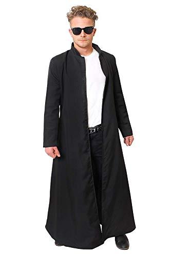 Erwachsenen Kostüm Für Warlord - ILOVEFANCYDRESS Langer Schwarzer Mantel/Duster = KOSTÜM Verkleidung =Fasching Karneval Halloween = Vampir JÄGER +Priester Mantel -STANDART