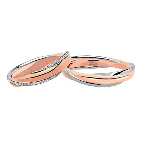 Fedi Polello In Oro Bianco E Oro Rosa 18 Kt 750/1000 Con Diamanti 2892drb-urb, 29
