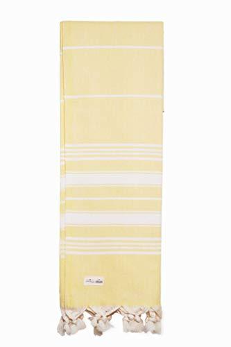 Captain&Mermaid® Premium Strandtuch aus 100% Baumwolle | Badetuch | Handtuch | Yoga | Peshtemal | Sauna Tuch | Hamam Tuch | leicht, dünn & extra saugstark (Gelb)