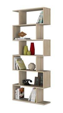 Ciara 6 Tier Light Oak Open Bookcase Tall & Narrow Room Divider