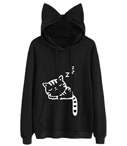 Bingotrade Womens Long Sleeve Hoodie Katze Print Pullover Katze Ohr mit Tasche Sweatshirt Loose Jumper Bluse