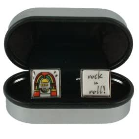 "Rock & Roll Music Cufflinks - Fun cufflinks with a jukebox image on one link and the words ""Rock n Roll"" on the other"