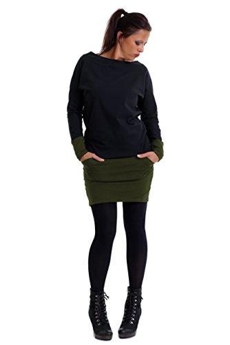 3Elfen Langarm Kleid Damen mit Taschen Cooles Kleid mit Mini Rock Sweat Shirt Kleid schwarz Oliv grün M a Linie -