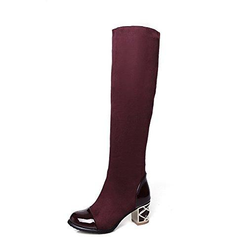 AgooLar Damen Rein Hoch-Spitze Blend-Materialien Mittler Absatz Stiefel Rot