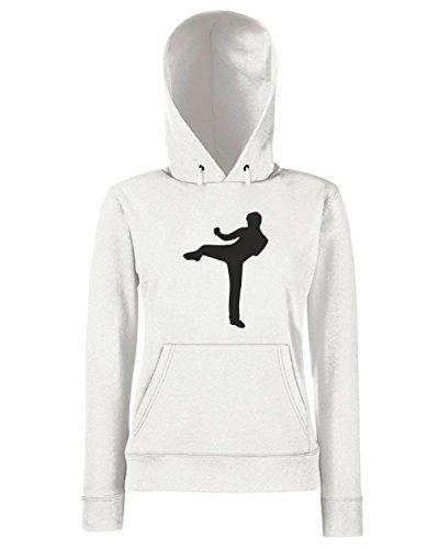 T-Shirtshock - Sweats a capuche Femme OLDENG00157 kickboxing Blanc