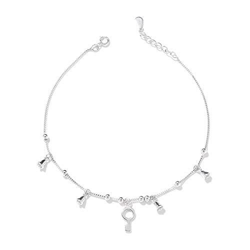 KUNQ Mode/Fußkettchen/Weihnachtsgeschenk/S925 Sterling Silver Schlüssel Fußkettchen Frauen Einfach Wild Umschlag Perlen-Ringe Bell-Anhänger.