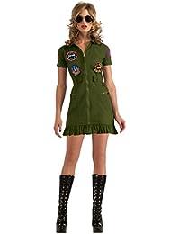 sexy Top Gun Mini Kleid grün