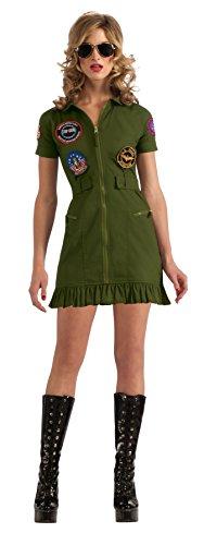 Kleid Kostüm Usa (sexy Top Gun Mini Kleid grün,)