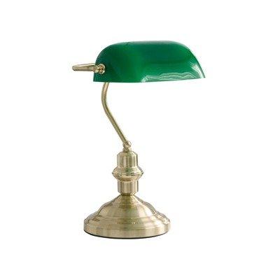 Globo Tischleuchte Bankerlampe messing  Glas grün, Schalter  1 x 60 W, E27, H: 36 cm T: 25 cm 2491 von GLOBO Handels GmbH bei Lampenhans.de