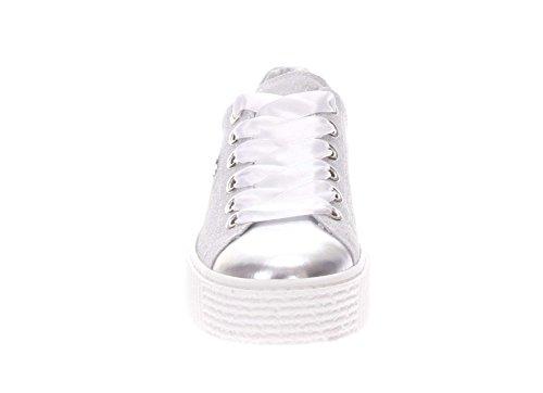 Nero Giardini Femme Sneaker P805282d 700 Sneaker En Cuir Et Paillettes Blanc / Argent
