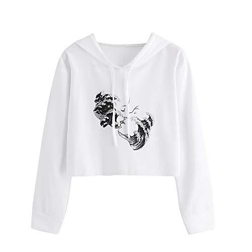 VEMOW 2018 Elegant Damen Frauen Casual Hoodie Kawaii Pullover Brief Gedruckt Sweatshirt Langarm Täglich Freizeit Pullover Tops Bluse(X2-Weiß, 36 DE/M CN)