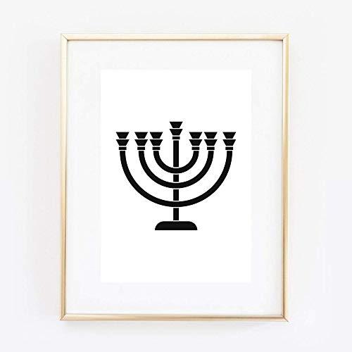 Din A4 Kunstdruck ungerahmt Menora Leuchter Judentum Jüdisch Davidstern Religion Grafik Druck Poster Bild