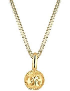 Elli PREMIUM Halskette Kugel Romantisch Edelstein 585 gelbgold