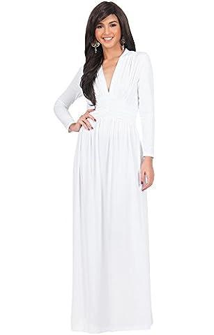 KOH KOH® Damen Petite Vintage Maxikleid Schöner V-Ausschnitt Langarm Abend Cocktail Kleid, Farbe Elfenbein Weiß, Größe XS / Extra (1920 Bride Kostüm)