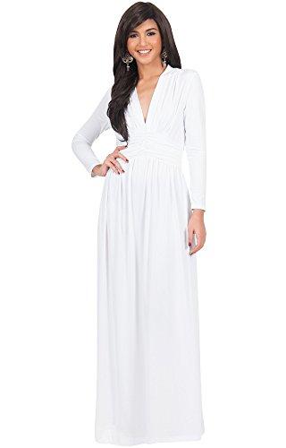 KOH KOH® Damen Petite Vintage Maxikleid Schöner V-Ausschnitt Langarm Abend Cocktail Kleid, Farbe Elfenbein Weiß, Größe XS / Extra Small