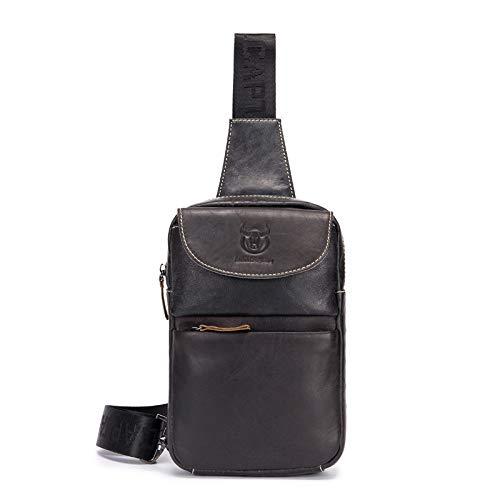 BAGCCS Männer echte Leder Brusttasche Sling Bag 2018 Marke echte Leder Mode Crossbody Taschen für Kleine Kausale Schultertasche Nachrichten Taschen,Schwarz 098 (Leder Nachricht Taschen Für Männer)