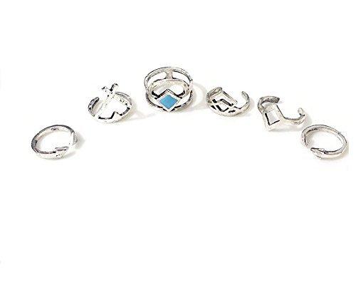 Marrakesch Vintage Midi de aspecto de Ring Set Juego de joyas en plata o de oro Anillos apilables con elefante Triángulo Serpiente Símbolo de OM Varios iconos de desido