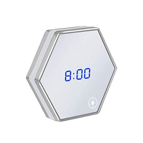 Multipurpose LED Night Light Clock Thermometer Mirror Glass Digital Luminous Alarm Clock Mute Eye Protecting Unique Gift Led Multi-purpose Light