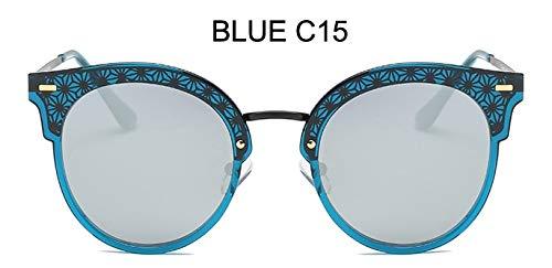 LKVNHP Festival uv400 polarisierte cat EyeSonnenbrille Damen Spiegel Modehohe qualität Anti-reflektierendeFrauen Brille wpgj102 blau c15