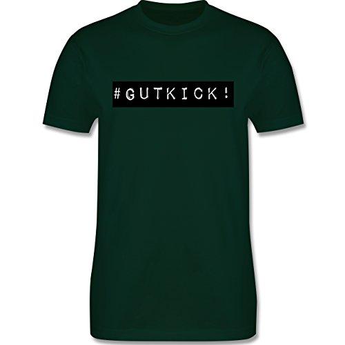 Sprüche - Gut Kick - L190 - Premium Männer Herren T-Shirt mit Rundhalsausschnitt Dunkelgrün