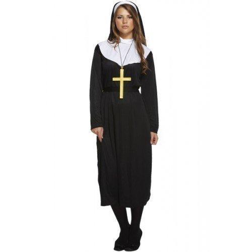 Damen Traditionell Katholische Nonne Uniform Religiös Kostüm Kleid Outfit STD &Übergröße - Schwarz, Plus (UK (Erwachsene Kostüme Traditionelle Nonne)