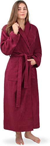 normani Extra Langer Baumwoll-Bademantel | Weicher Sauna-Bademantel mit Frottee für Damen - Öko Tex 100 - Premium Qualität Farbe Burgund Größe S