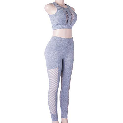 Frauen Mode Hohe Taille Gerade Feste Elastische Beiläufige Sport Anzug Hohl Perspektive Nähen Yoga Zweiteilige Set,L