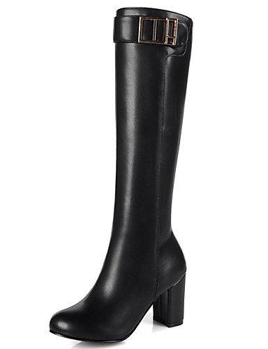 Scarpe Donna Stivali primavera/autunno/inverno stivali moda Ufficio carriera/Abbigliamento/Casual Chunky Heel Zipper nero/rosso/bianco,marrone,noi10.5 / EU42 / UK8.5 / CN43