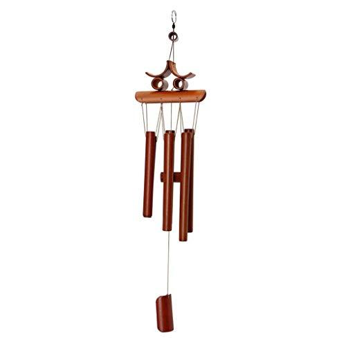 Windspiele Bambus Windspiel Feng Shui Mit Hängenden Ring Garten Hof Ornament Dekoration Wohnkultur Handwerk Viel Glück Maskottchen Geschenk Windspiele (Color : Brown, Größe : 13 * 60cm) -