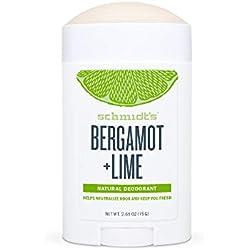 Schmidt's, Déodorant d'Origine Naturelle Stick à La Bergamote & Citron Vert, 75g, Certifié Vegan, Efficace 24h
