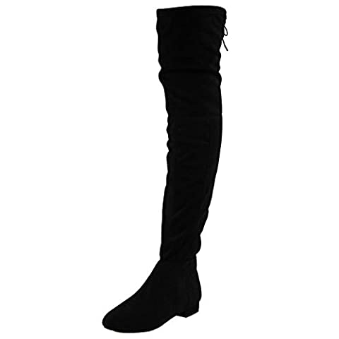 Womens Ladies Thigh High Over The Knee Low Heel Flat