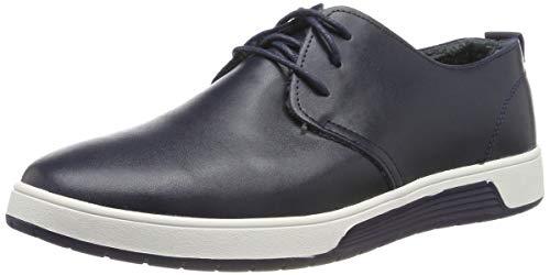 Herren Leder Schuhe mit Warm Gefüttert Business Halbschuhe zum Schnürer Winter Anzugschuhe Oxford Derbys Lederschuhe Wasserdicht Flache Schnürhalbschuhe MännerBlau-43 EU