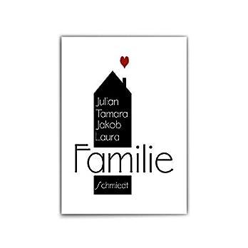 Personalisiertes Poster Familie – Typographie – Herz – Familien Namen personalisiert – schönes persönliches Geschenk – Bilder Familie – Zuhause – personalisierte geschenke familie – ohne Rahmen