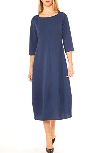 Vestito donna over fit in jersey stretch manica corta Bluette