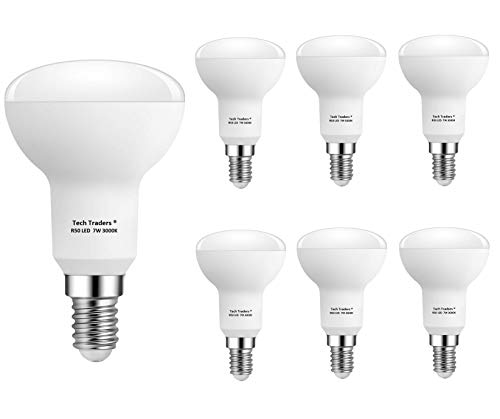 Tech Traders® LED-Leuchtmittel, Reflektor R50,E14, 7W, warmweiß / kaltweiß, kleines Edison-Schraubgewinde, ersetzt 70-W-Leuchtmittel, nicht dimmbar, 560 Lumen, Energiesparlampe, plastik, warmweiß, 6 Stück, E14 7watts 240.0volts