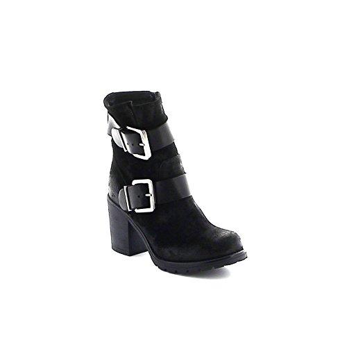 Boots en daim double sangles Noir