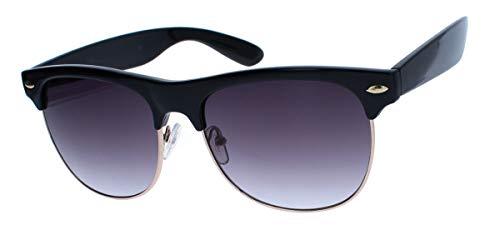 50er Jahre Retro Sonnenbrille Halbrahmen Clubmaster Style schwarz gold Rockabilly TM2