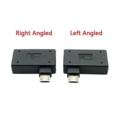 CY 290Grad links & rechts abgewinkelt Micro-USB 2.0OTG Host Adapter mit USB Power für Handy & Tablet -