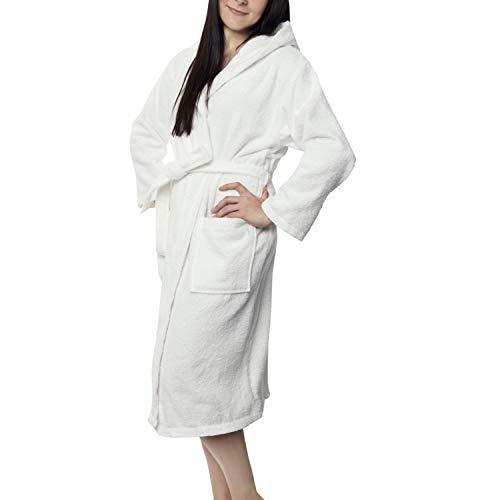 Twinzen Bademantel 100% Baumwolle Kapuze für Damen (M, -