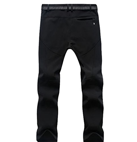 YiLianDa Pantaloni Softshell da Uomo Lunghi Impermeabile A Prova di Vento con Vello Interno Escursionismo e Campeggio Outdoor Sport Nero(Uomo)