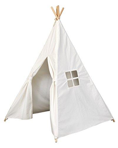 [TIENDA DE JUEGO TIPI] Tienda india para niños - Tienda india 140 x 120 x 120 cm - Tienda tipi de algodón - Para dentro y fuera de su casa - con cuatro postes de madera y ventanas - GadgetQounts