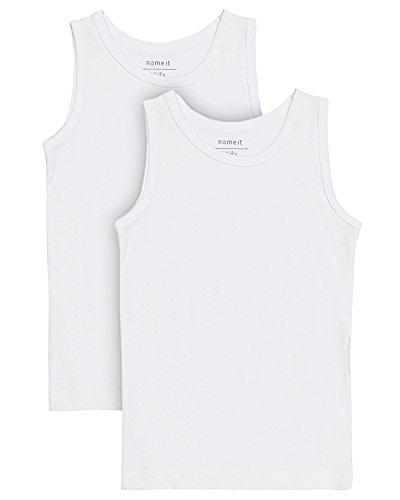 NAME IT Baby-Jungen Unterhemd Nittank Top 2P Solid M B Noos, 2er Pack, Weiß (Bright White Bright White), 104