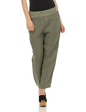 ZARMEXX pantalones de lino de las señoras pantalones de verano pantalones llanos pantalones (M, L, XL, XXL)