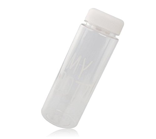 lyuboov Wiederverwendbare Flasche aus Kunststoff für Wasser, Milch und Saft, 500 ml (mit Beutel), plastik, weiß, 500 ml