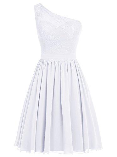 Dresstells, Une épaule Robe de demoiselle d'honneur Robe de soirée de cocktail mousseline longueur genou Blanc