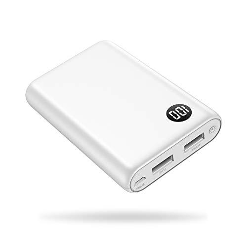 Kilponen Powerbank 13800 mAh Externer Akku Ladegerät mit hoher Kapazität 2 USB Ports,Mini Tragbares Ladegerät mit LCD Digital Display super kompakte Power Pack für Smartphones,Tablet und mehr (Weiß) Mini-usb-port