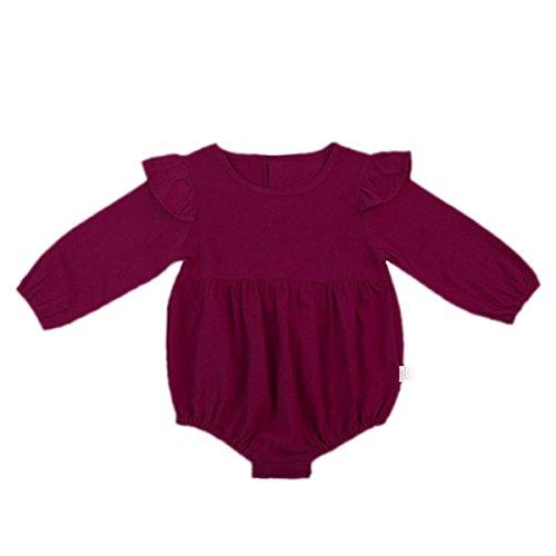Wang-RX Solide Baumwolle Baby Sommer Herbst Strampler Vintage Baby Girl Strampler Langarm Baby-Kleidung