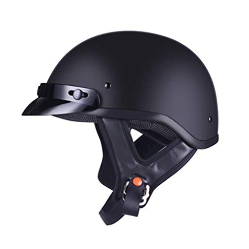 FEIYUESS Motorrad halben Helm Lokomotive Helm Licht Retro-Helm halb Helm Männer und Frauen Helm Vier Jahreszeiten Universal (Farbe : SCHWARZ)