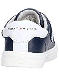 Tommy Hilfiger T1B4-30304-0622 Azul Rojo Blanco Eco Cuero Niño Entrenadores fa7707c7529ab