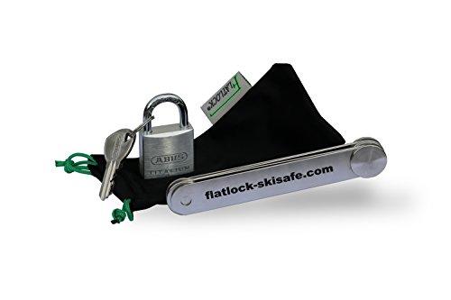 Flatlock Skisafe 80, Premium Skischloss, Diebstahlschutz und Skisicherung aus Edelstahl mit Schlüsselschloss
